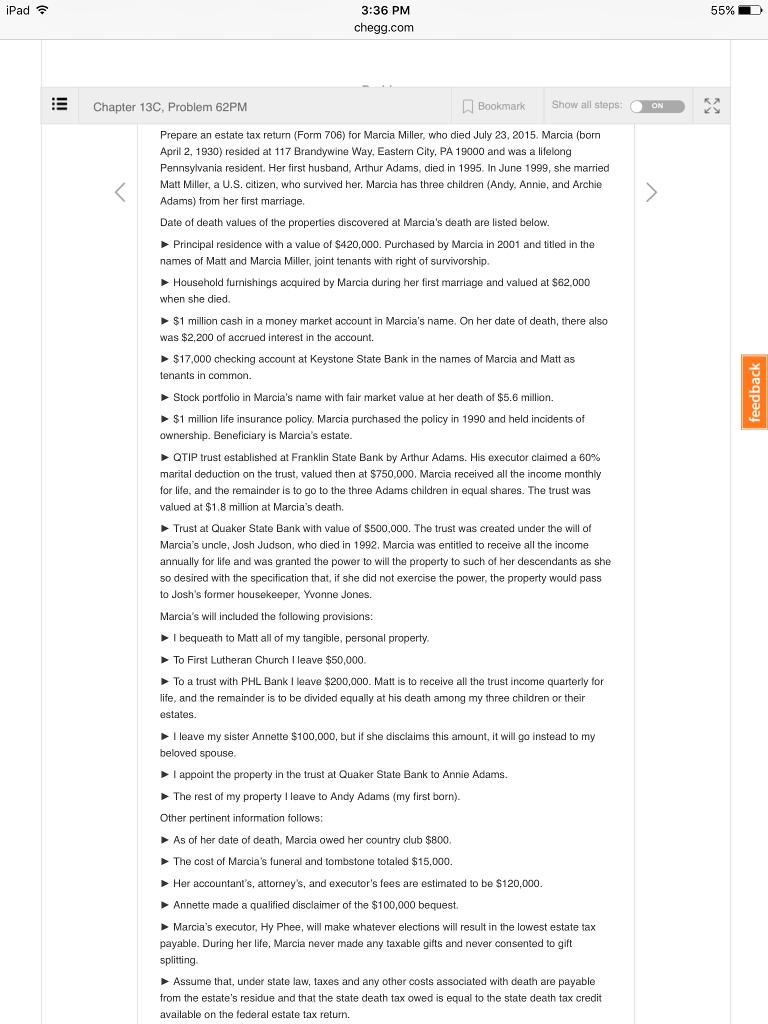 Prepare An Estate Tax Return (Form 706) For Marcia... | Chegg.com
