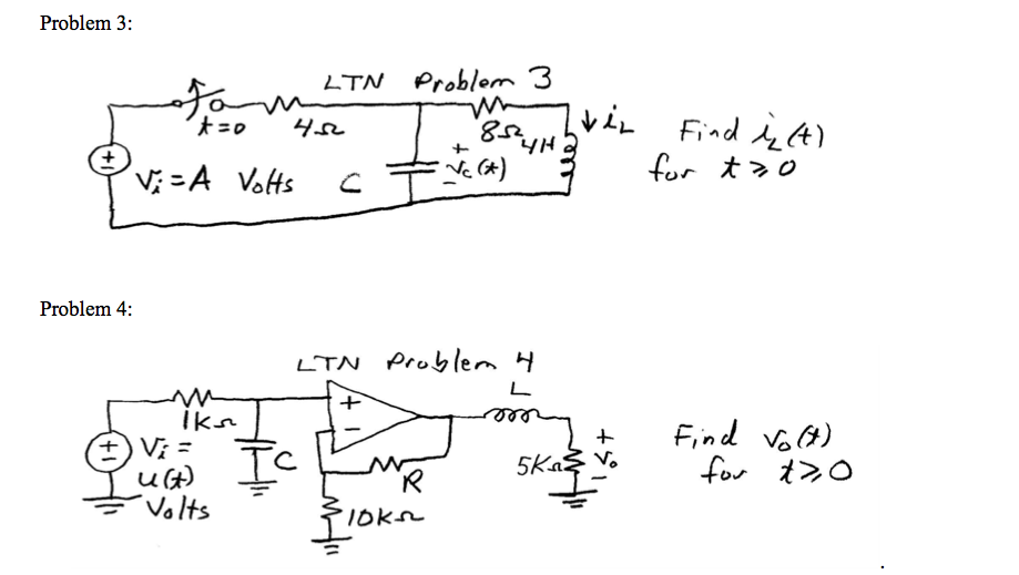 Determine the initial capacitor voltage and/or ind