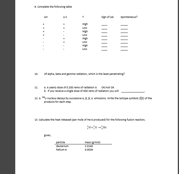 Solved Complete The Following Table Of Alpha Beta And Ga
