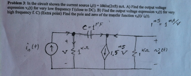 In the circuit shown the current source i5(t) = 10
