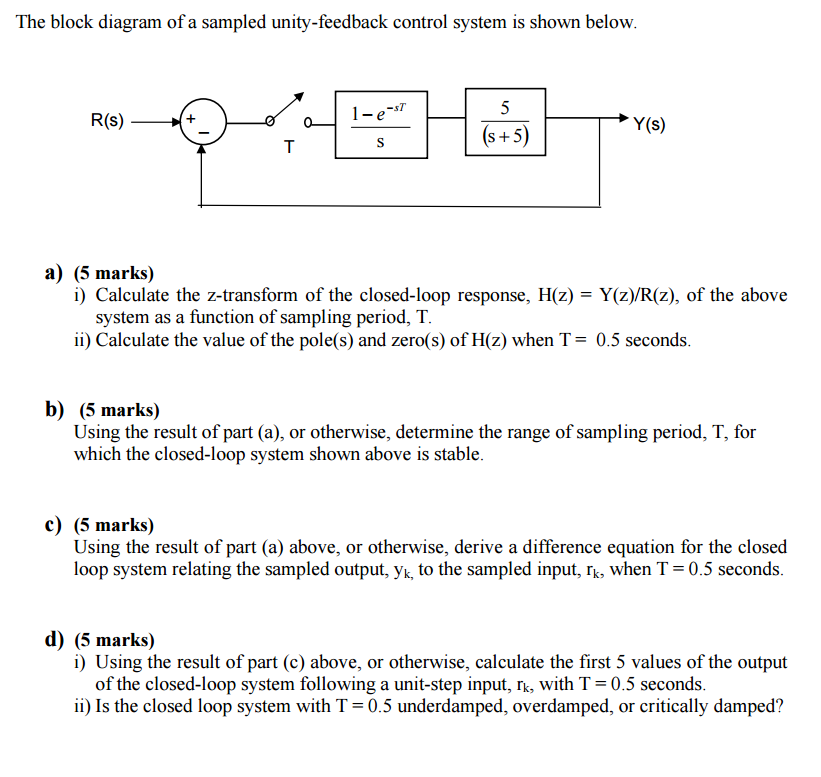 The block diagram of a sampled unity feedback cont chegg question the block diagram of a sampled unity feedback control system is shown below icalculate the z t ccuart Gallery