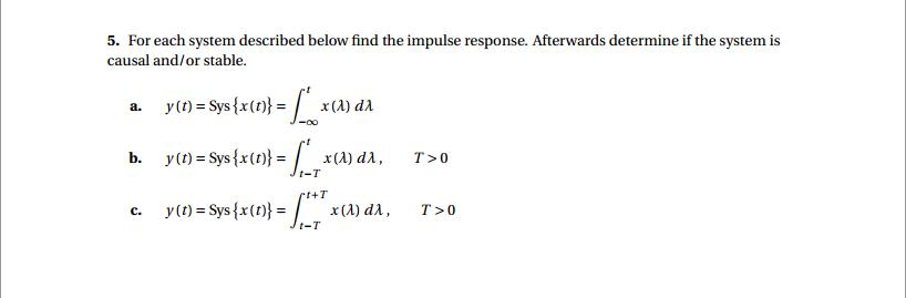 For each system described below find the impulse r