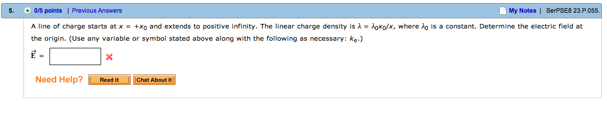 A line of charge with uniform density of 34.0 nC/m