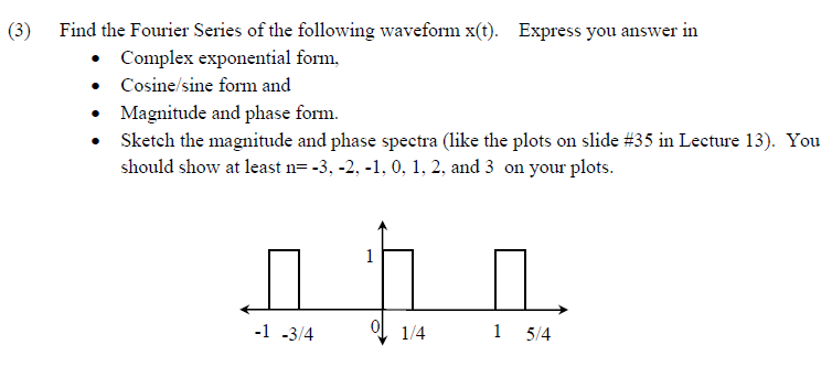 Find The Fourier Series Of The Following Waveform ... | Chegg.com