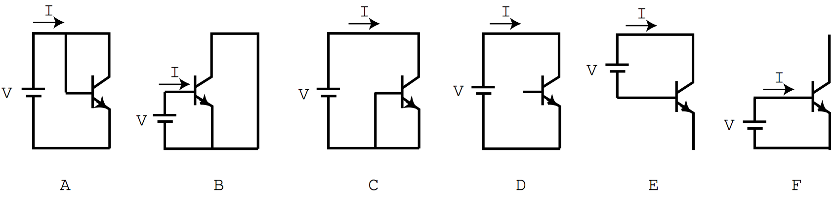 The figure below shows six possible ways of connec