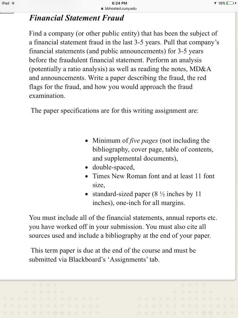 financial statement cover page
