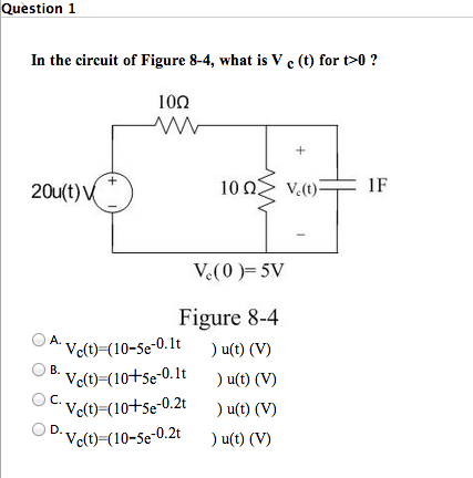 In the circuit of Figure 8-4, what is V c (t) for