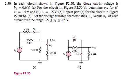 In each circuit shown in Figure P2.50, the diode c