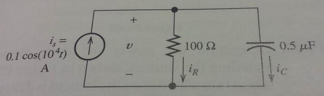 Find the phasors for the voltage and the currents