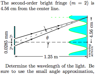 The second-order bright fringe (m = 2) is 4.56 cm