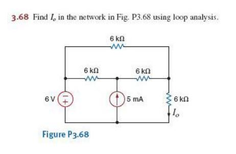 Find I0 in the network in Fig. P3.68 using loop an