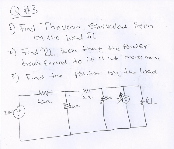 Find the venin equation seen by the load RL Find P