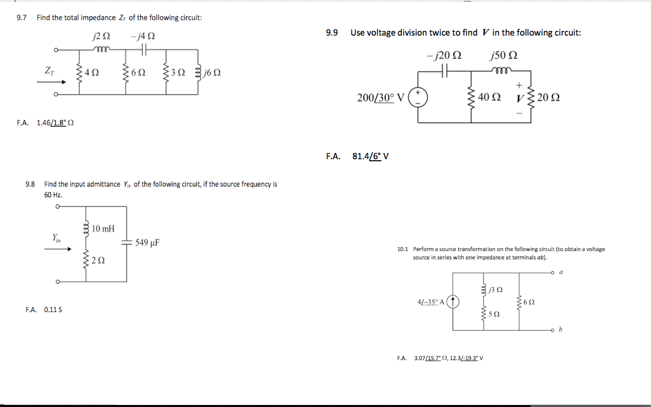 Find the total impedance Zt of the following circu
