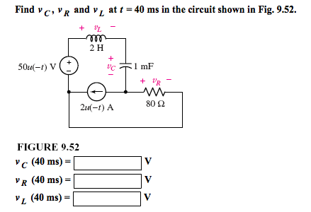 Figure vC, vR and vL at t = 40 ms in the circuit s