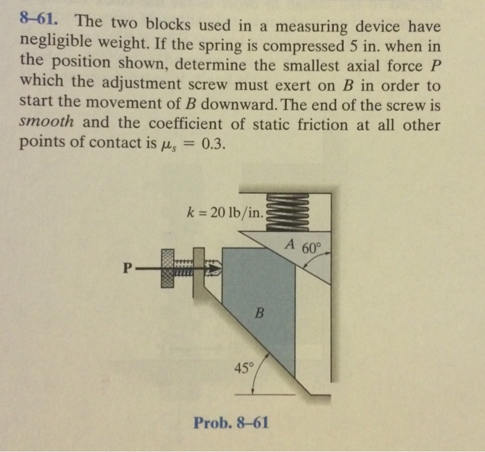 A Device That Measures Weight : Solved the two blocks used in a measuring device have neg