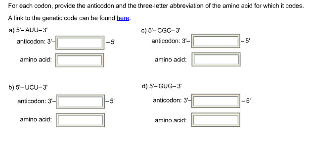 Solved for each codon provide the anticodon and the thre for each codon provide the anticodon and the thre thecheapjerseys Images