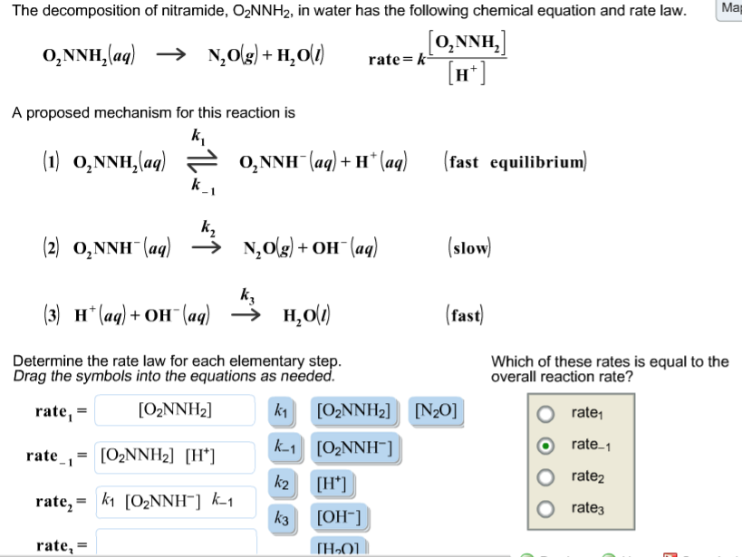 Solved The Decomposition Of Nitramide O2nnh2 In Water