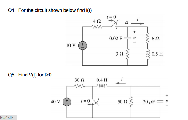 For the circuit shown below find i(t) Find V(t) f