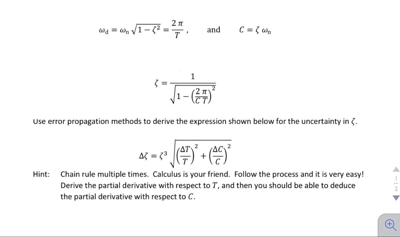 Use Error Propagation Methods To Derive The Expres Chegg