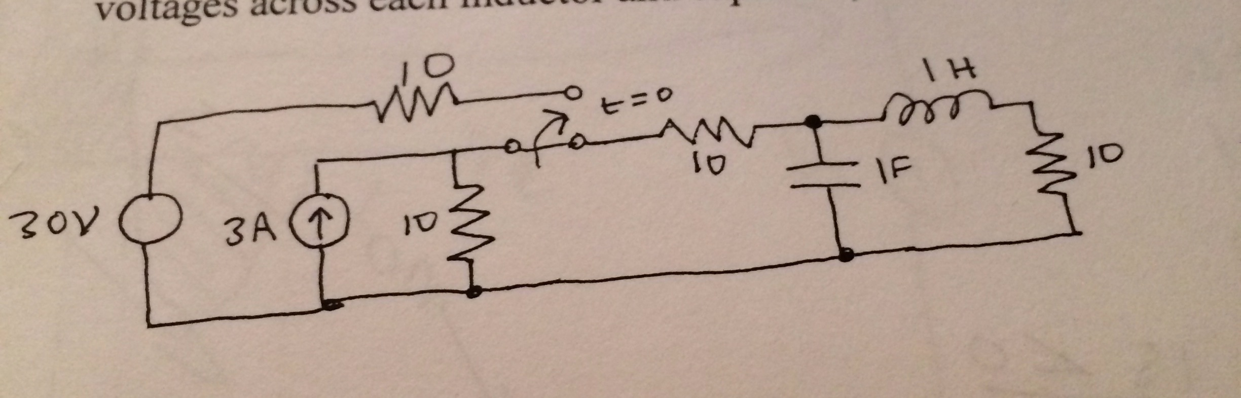 Solve the circuit in steady state at time t=0, jus