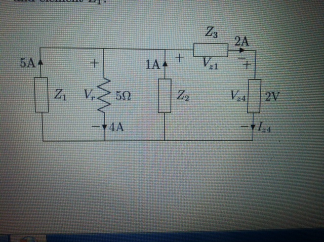 Determine the current Iz4 in the following circuit