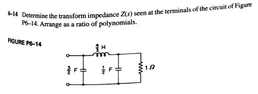 Determine the transform impedance Z(s) seen at the