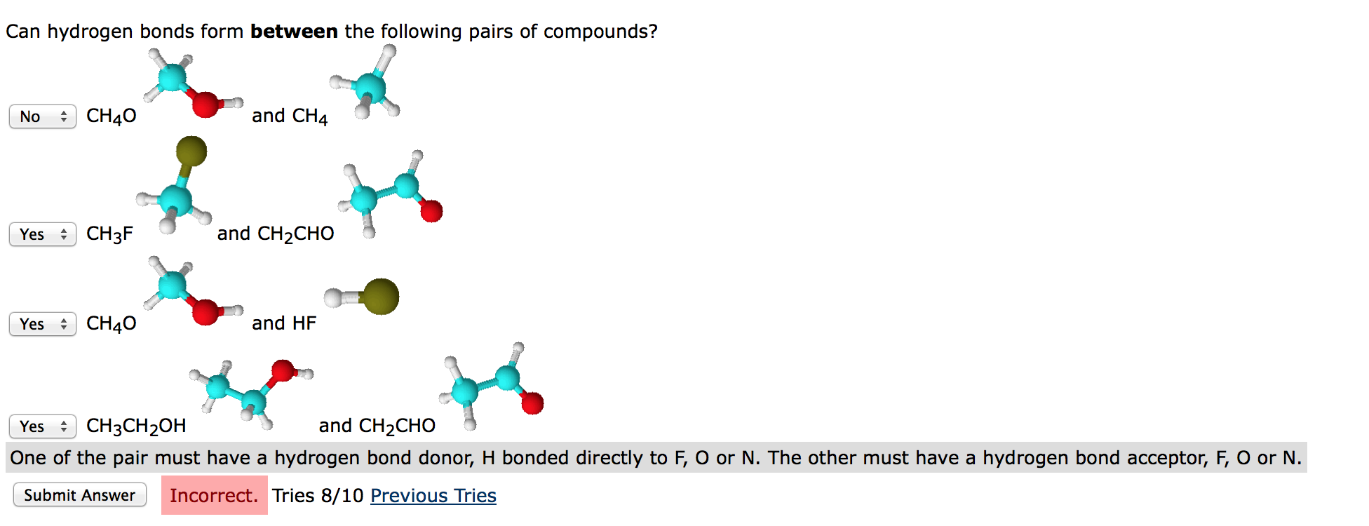 Can Hydrogen Bonds Form Between The Following Pair... | Chegg.com