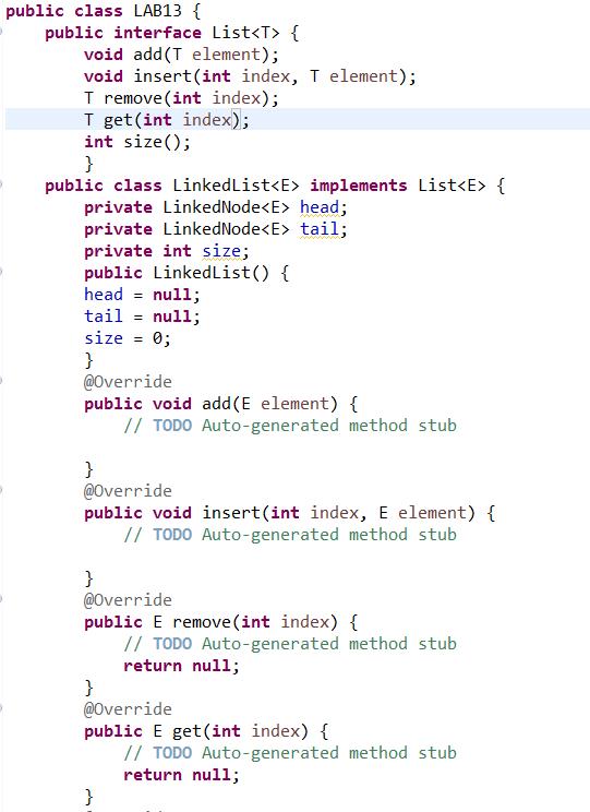 public class LAB13 public interface List { void add(T element)