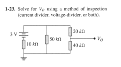 Solve for V0 using a method of inspection (current