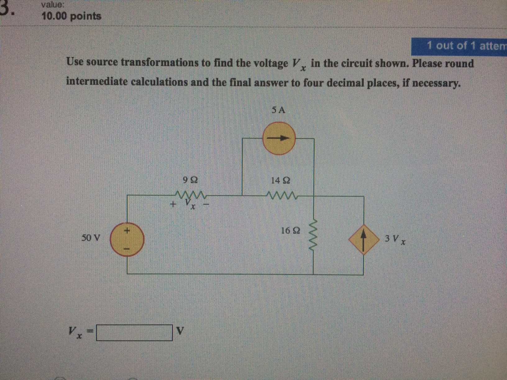 Use sources transformations to find the voltage V