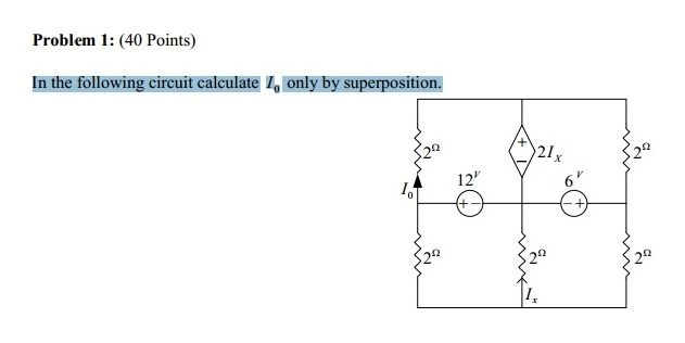 In the following circuit calculate I0 only by supe