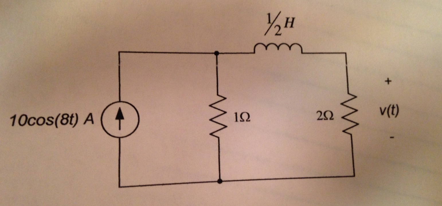 For the circuit below, find: a) The voltage v(t)