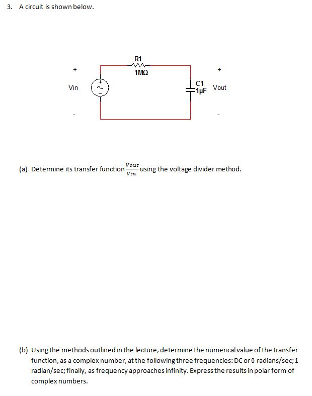 A circuit is shown below. Determine its transfer