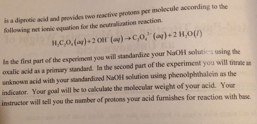 standardization of naoh and determination of Aim to standardize a sodium hydroxide (naoh) solution against a primary standard acid using phenolphthalein as indicator variables independent variables mass of khp (mkhp) volume of khp.