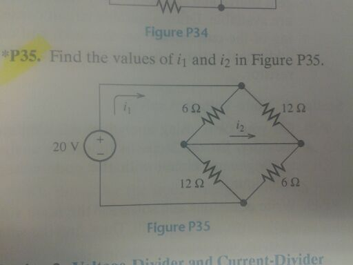 Find the values of i1 and i2 in Figure p35.