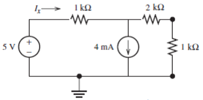 Find Ix in the following circuit using superpositi