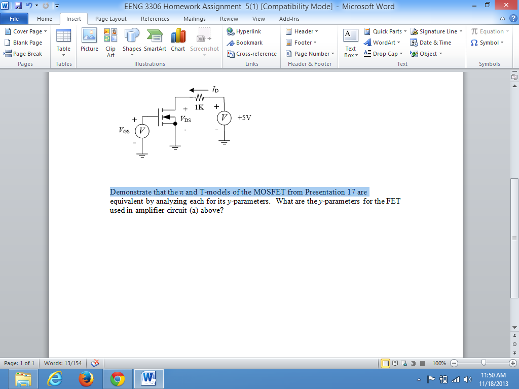 Demonstrate that the pi and T-models of the MOSFET