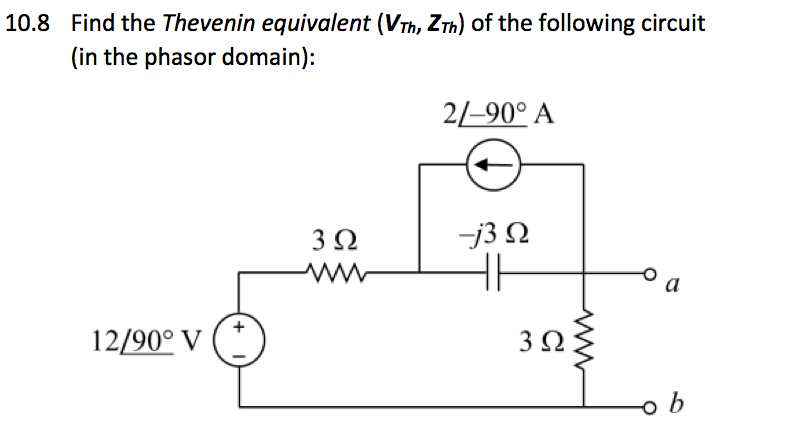 Find the Thevenin equivalent (VTh, ZTh) of the fol