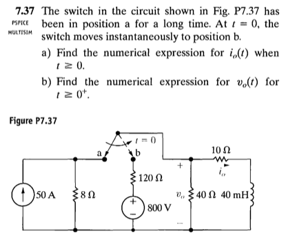 The switch in the circuit shown in Fig. P7.37 has