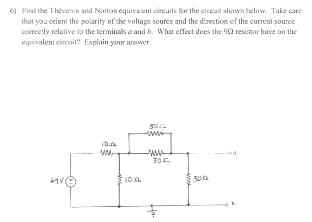 Find the Thevenin and Norton equivalent circuits f