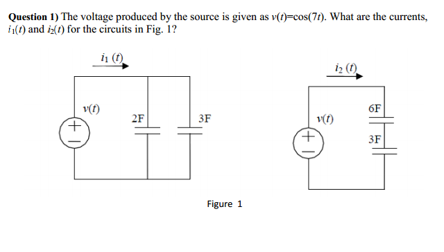 The voltage produced by the source is given as v(t