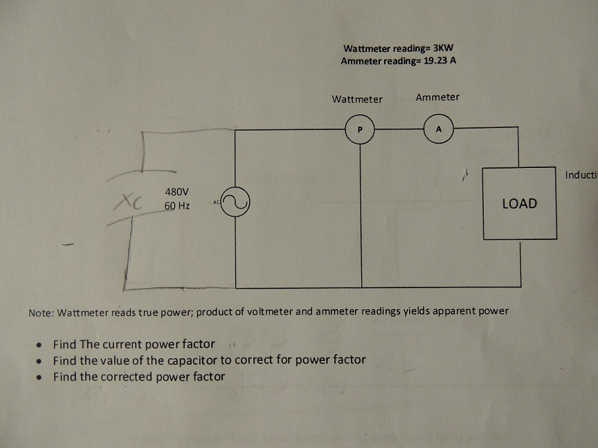 Find the current power factor.Find the value of th