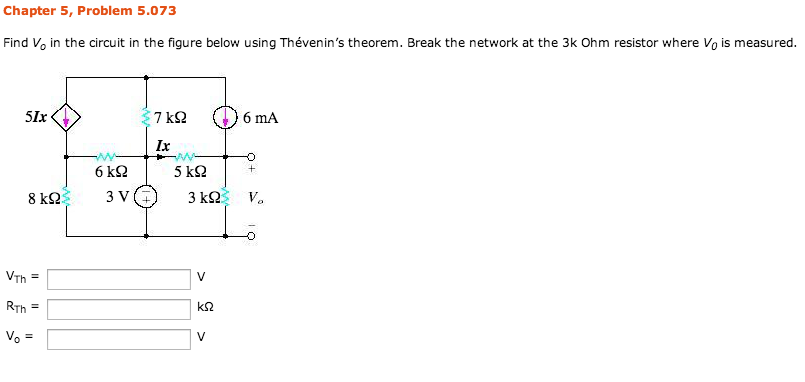 Find V0 in the circuit in the figure below using T