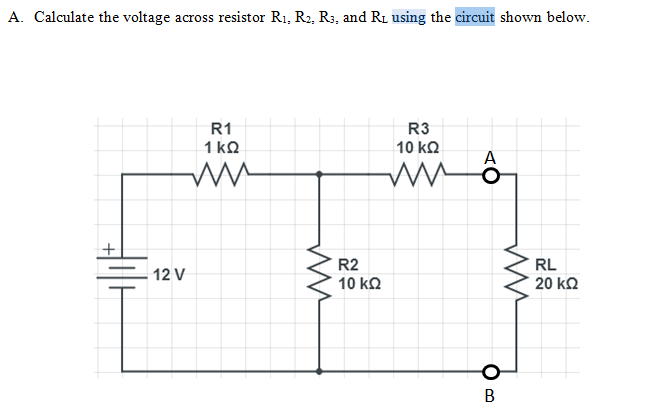Calculate the voltage across resistor R1, R2, R3,