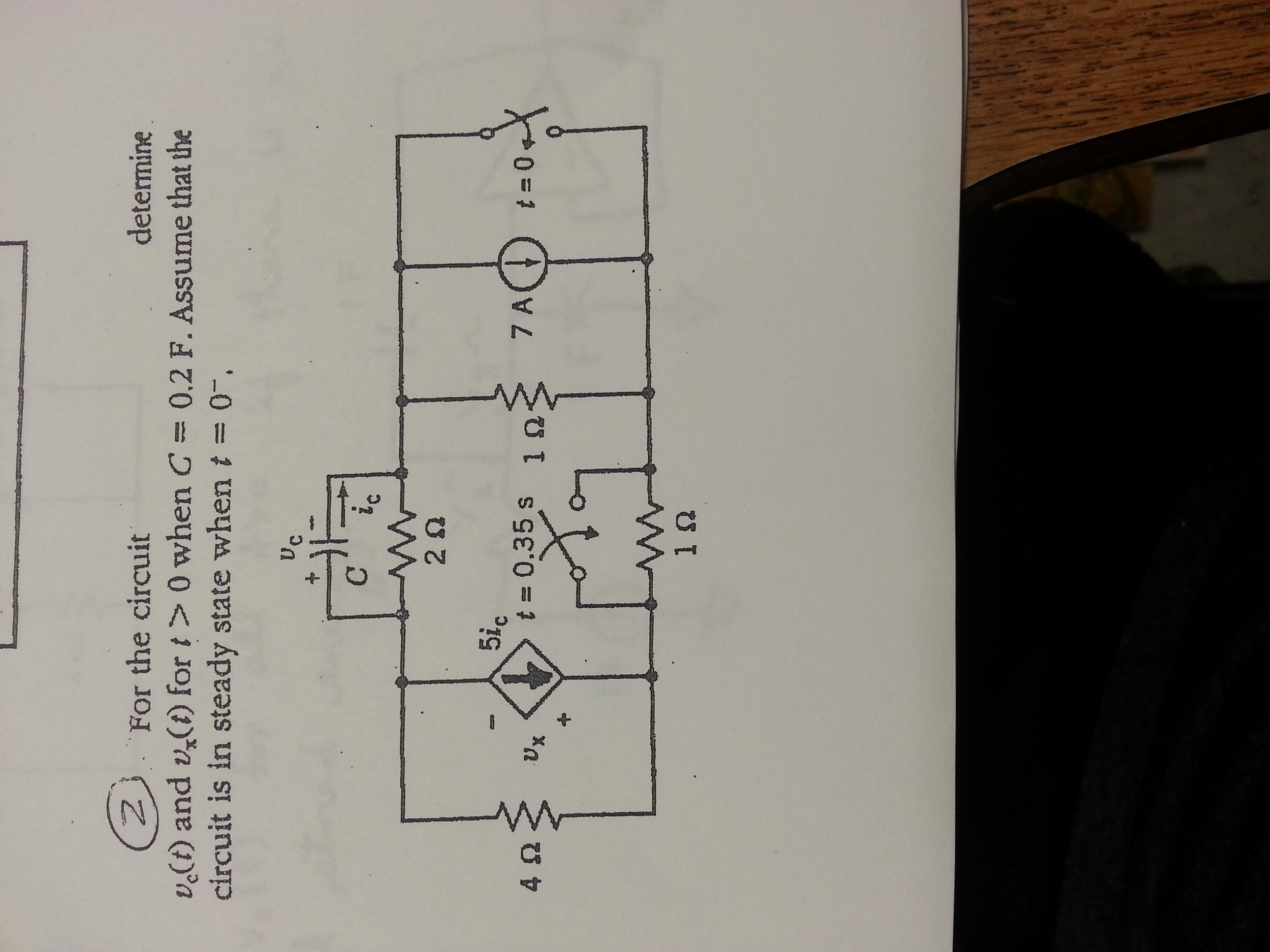 For the circuit determine vc(t) and vx(t) for t >