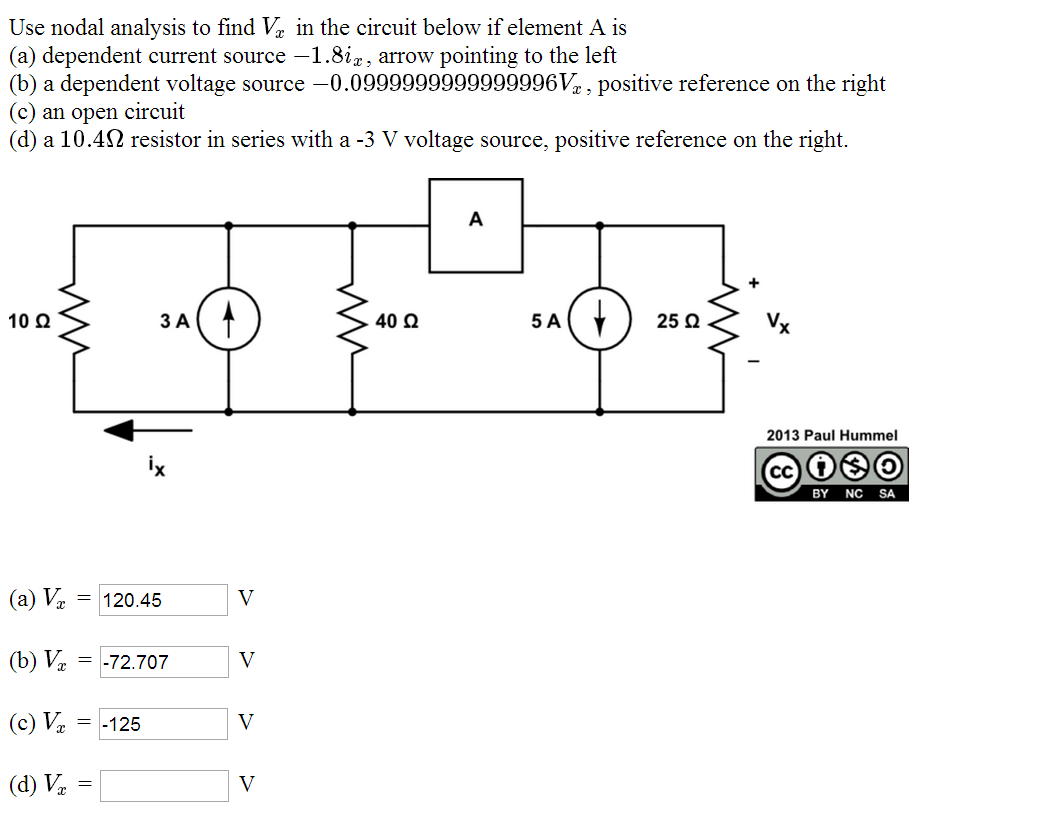 Use nodal analysis to find Vx in the circuit below