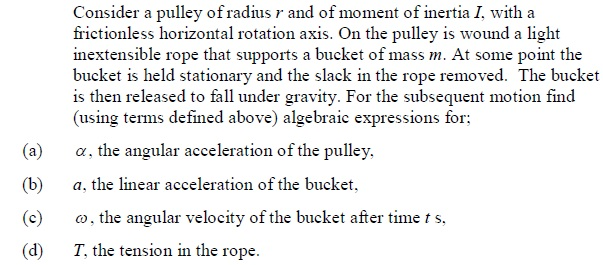 Consider a pulley of radius r and of moment of ine