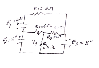 find V4 (the voltage across the 4th resistor) USIN