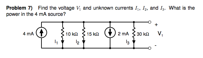 Find the voltage Vl and unknown currents I1, I2, a