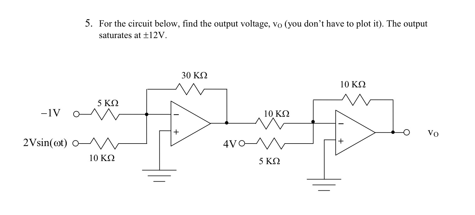 For the circuit below, find the output voltage, vo